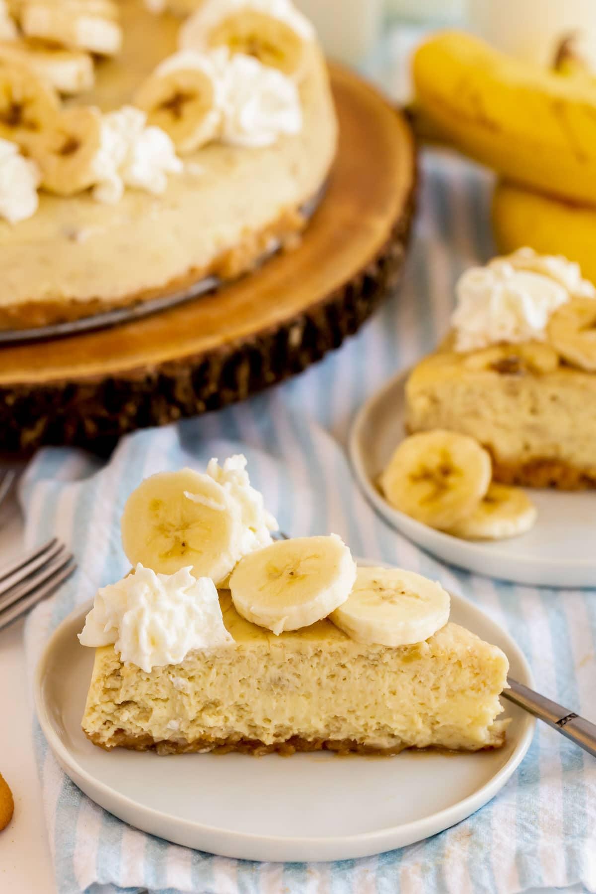 banana cream cheesecake slice on a plate