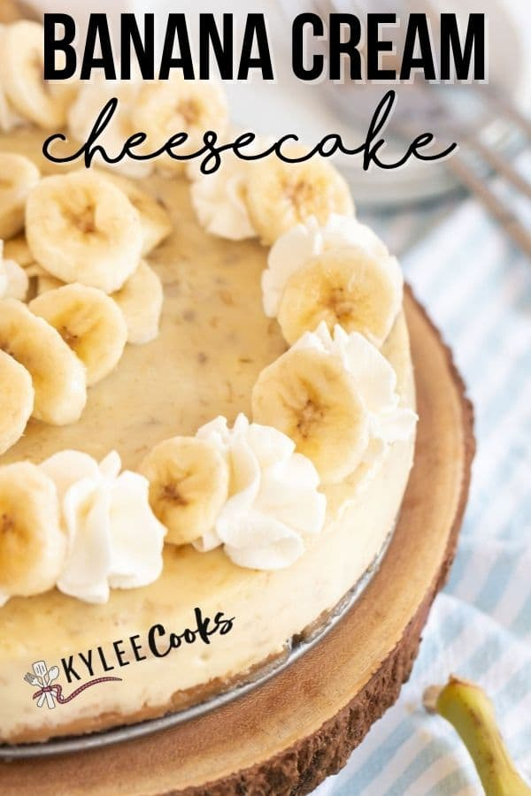 banana cheesecake pin with text overlay