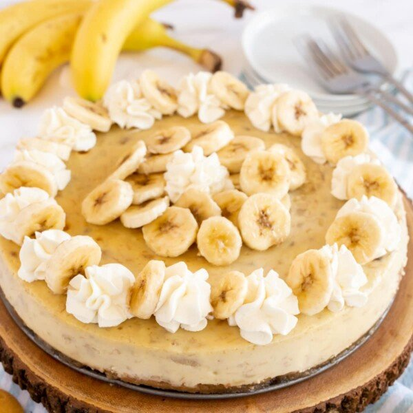 square image of banana cheesecake