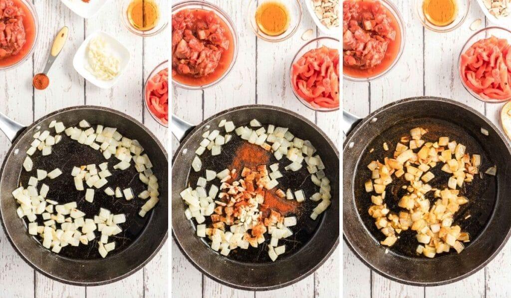 sweating onions for romesco sauce