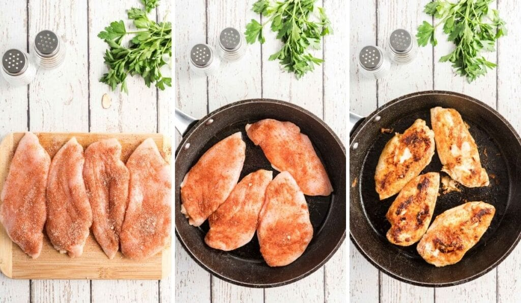 cooking chicken in a skillet - 3 photos