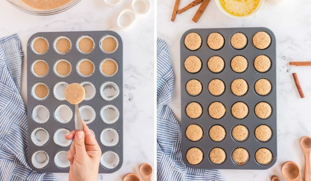 step by step instructions for scooping muffin batter