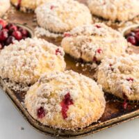 cranberry muffins in a pan