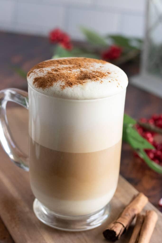 eggnog latte with cinnamon on top
