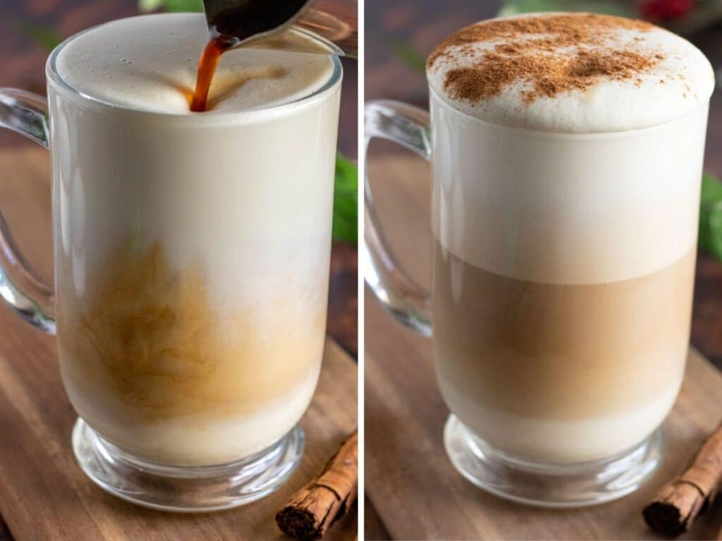 making an eggnog latte