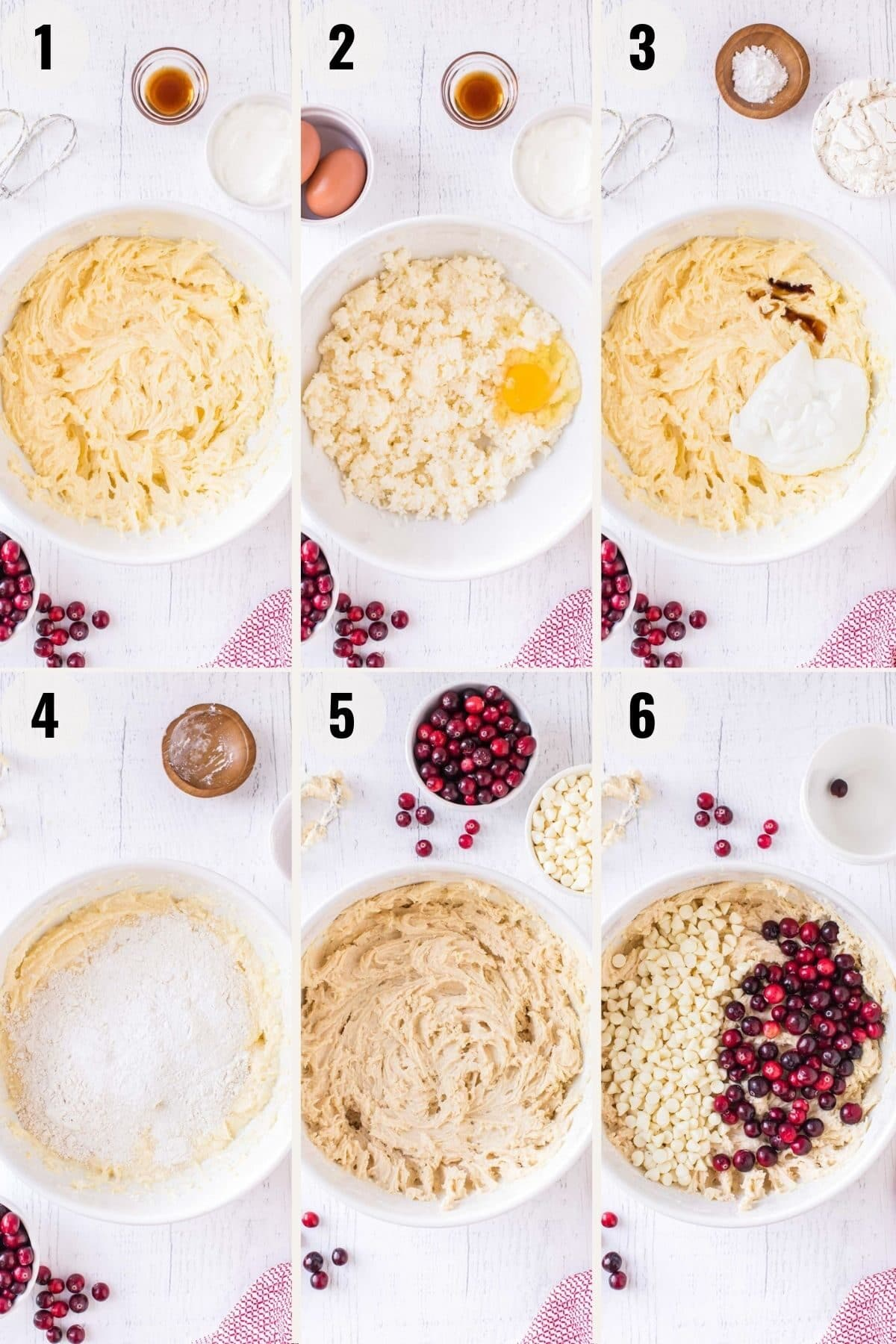 step by step photos showing cranberry cake batter being made