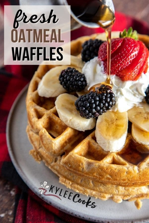 oatmeal waffles pin with text overlay