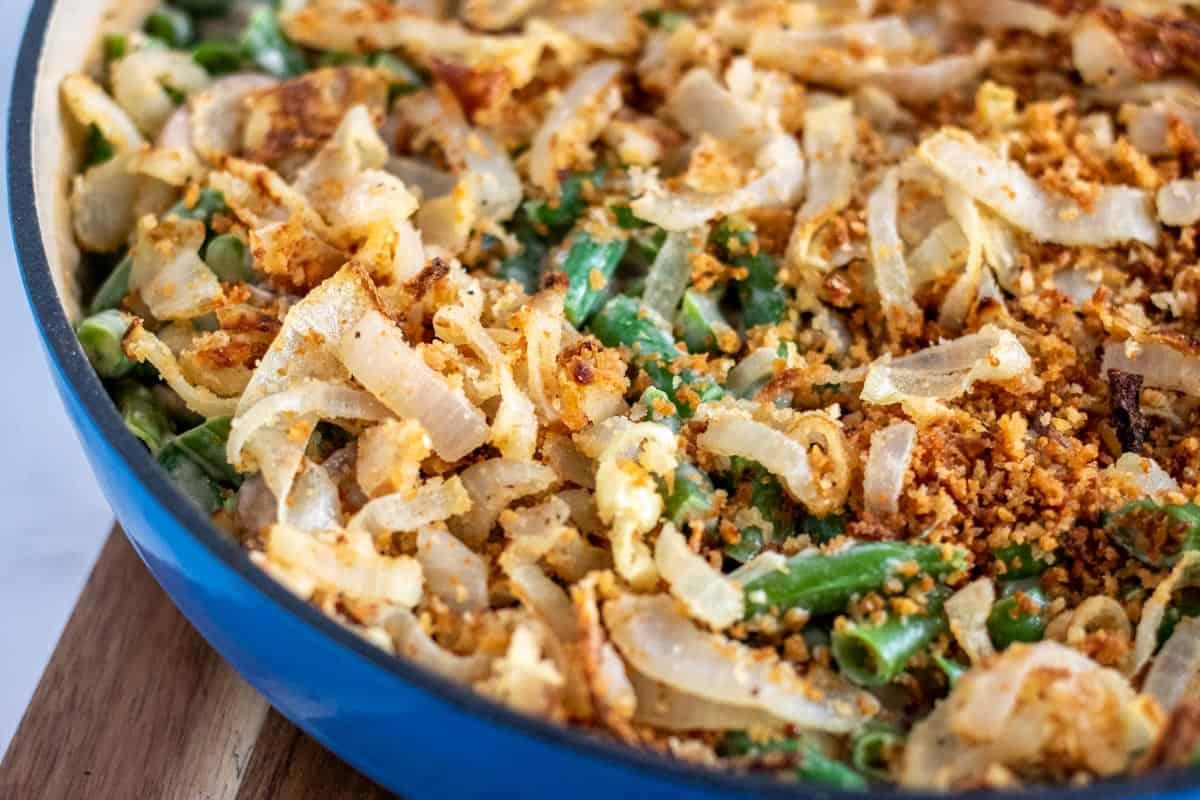 green bean casserole in a blue skillet