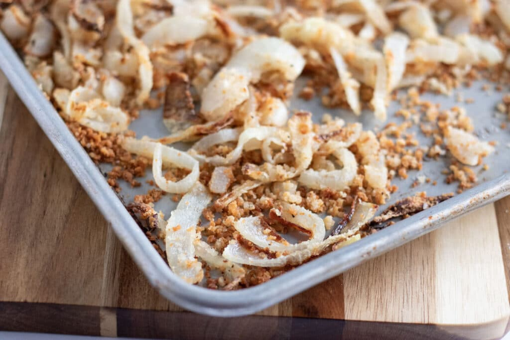oven baked onion topping on a sheet pan