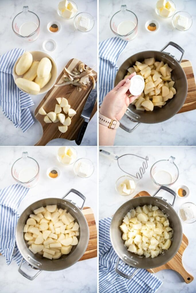 peeling, cutting and boiling potatoes