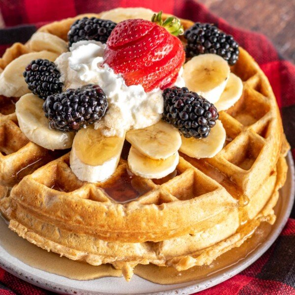 fruit topped waffles