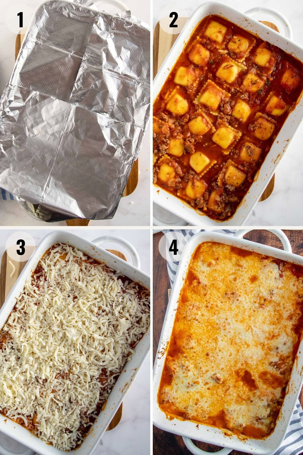 step by step to bake a ravioli lasagna