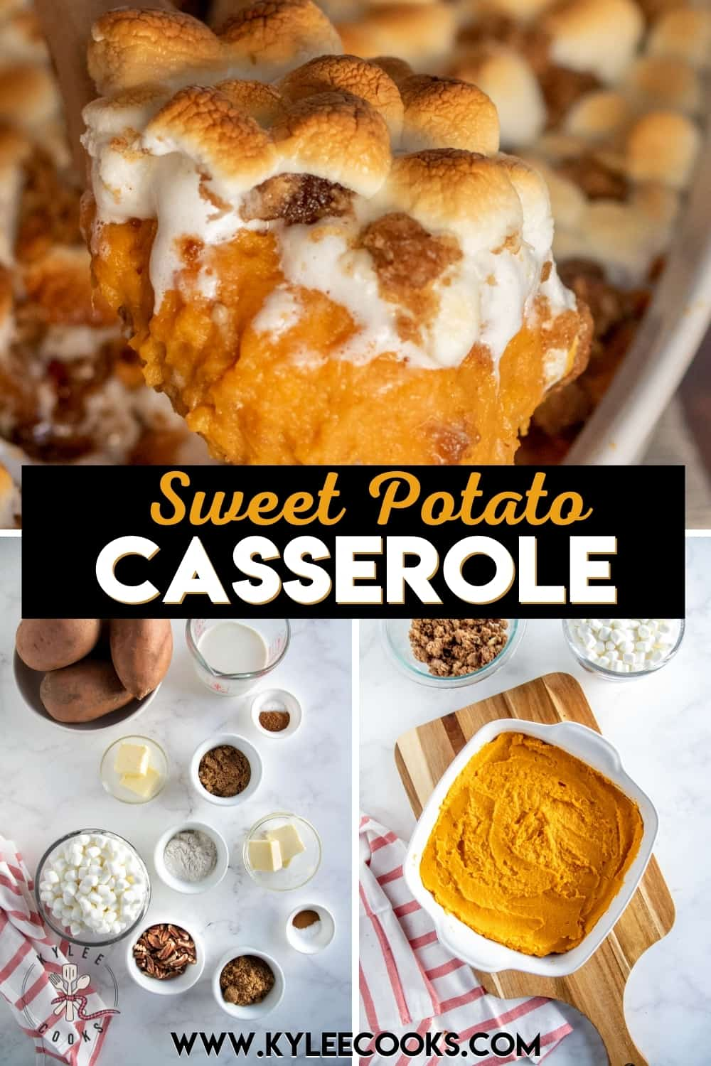 collage of sweet potato casserole with recipe title in text overlaid