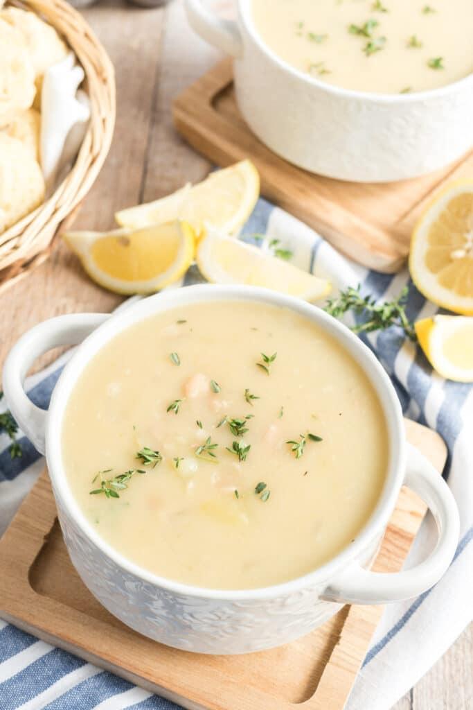 white bean soup in a white bowl