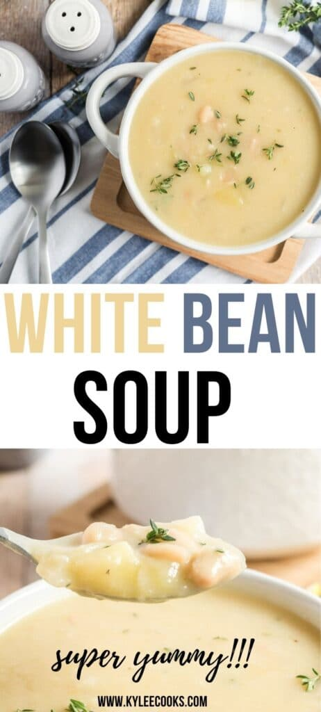 White Beans soup pin with text overlay