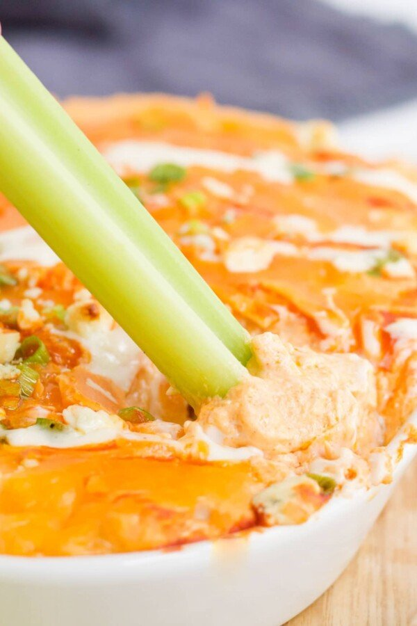 buffalo chicken dip with a celery stick