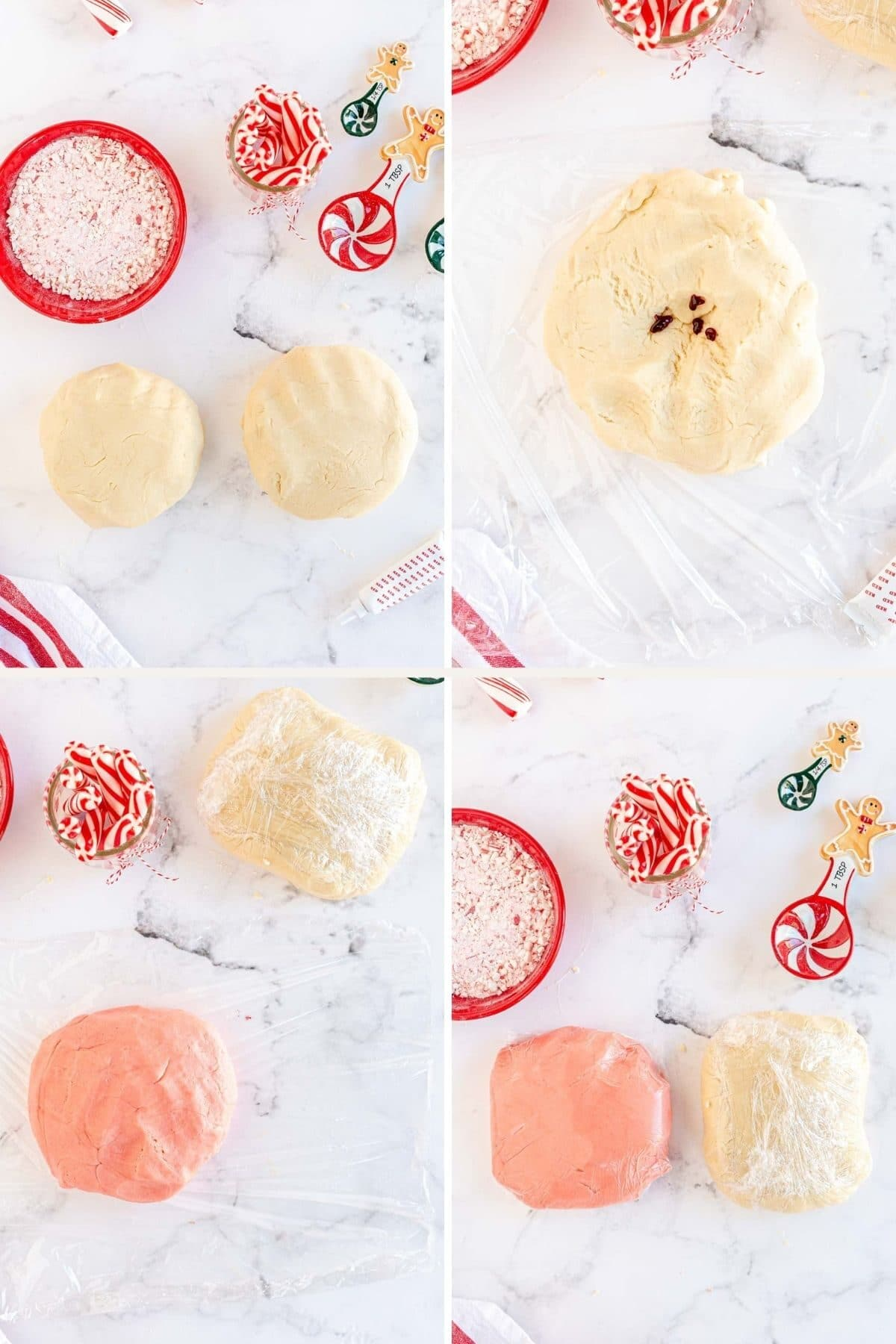 step by step photos coloring the dough for candy cane cookies