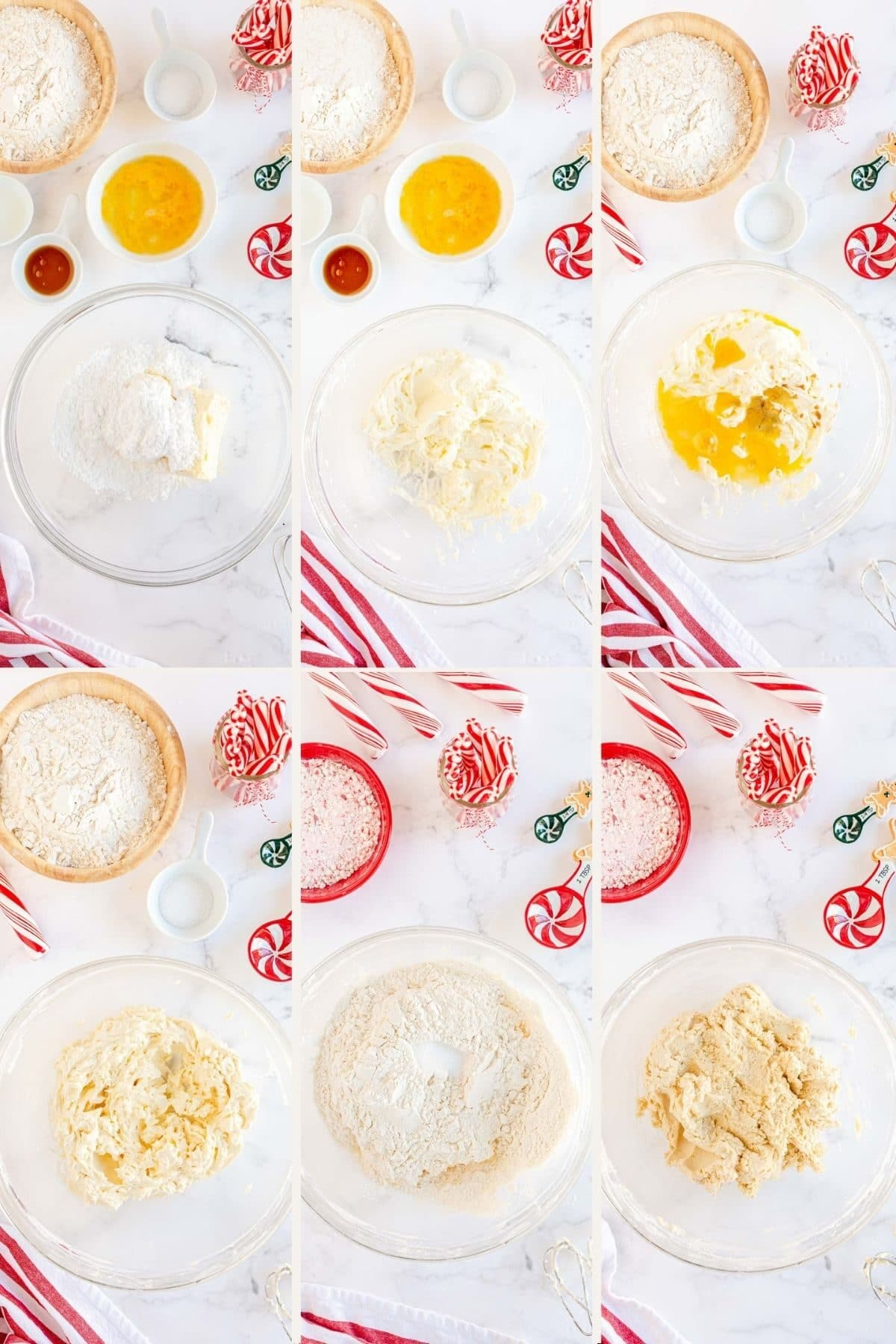 step by step photos making the dough for candy cane cookies