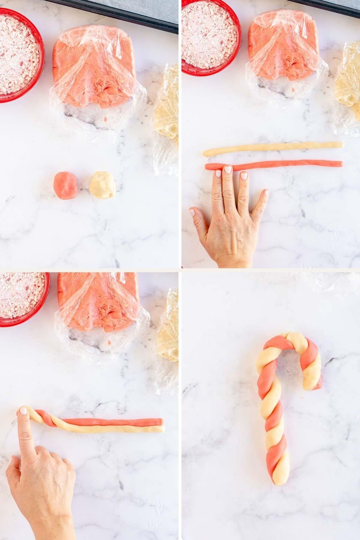 step by step photos shapingthe dough for candy cane cookies