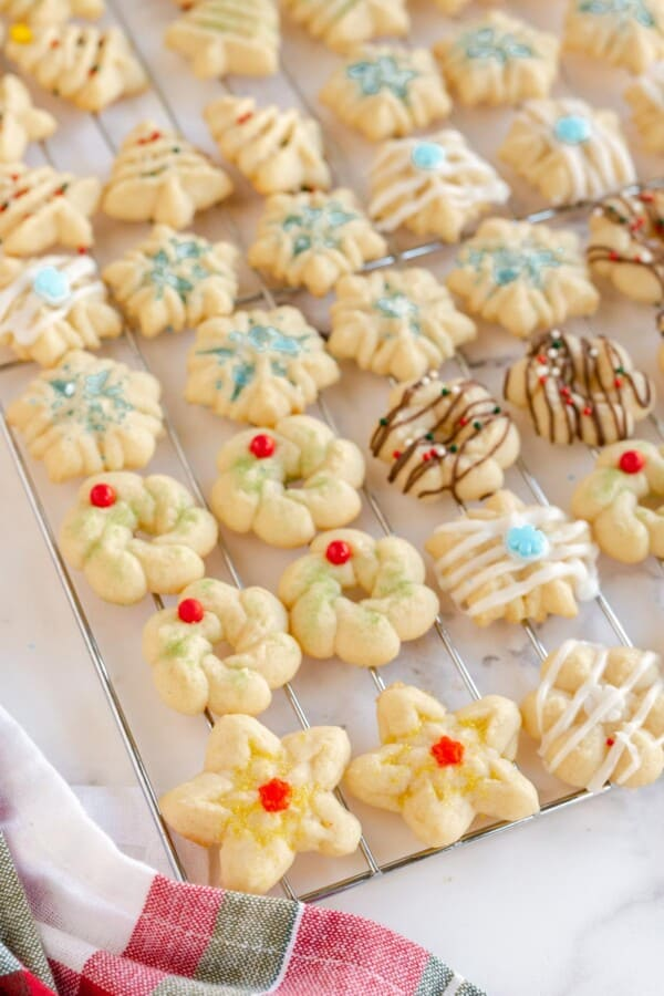 Christmas Spritz Cookies on a cooling rack