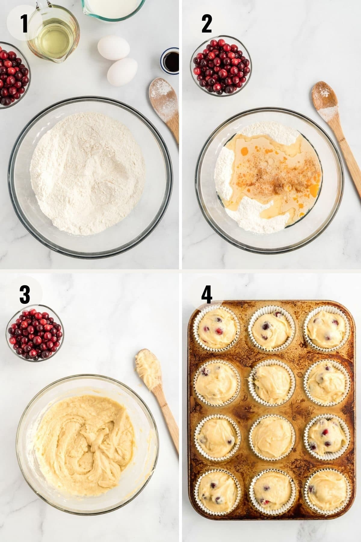 step by step photos showing cranberry muffin batter being made