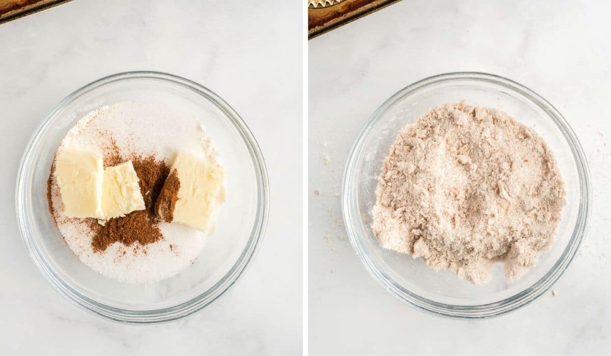 step by step photos showing streusel topping being made
