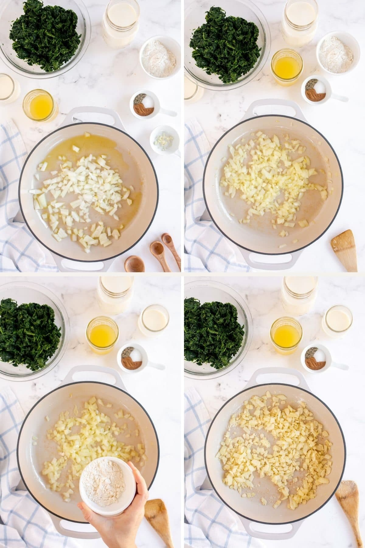 step by step making a cream sauce for spinach