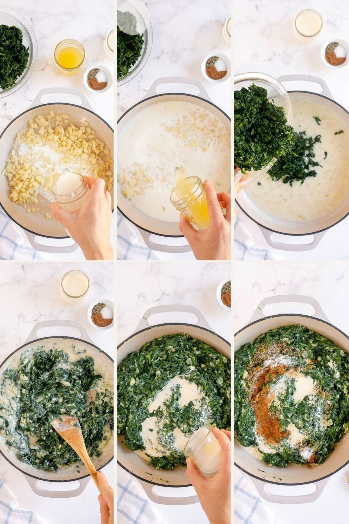 step by step making creamed spinach