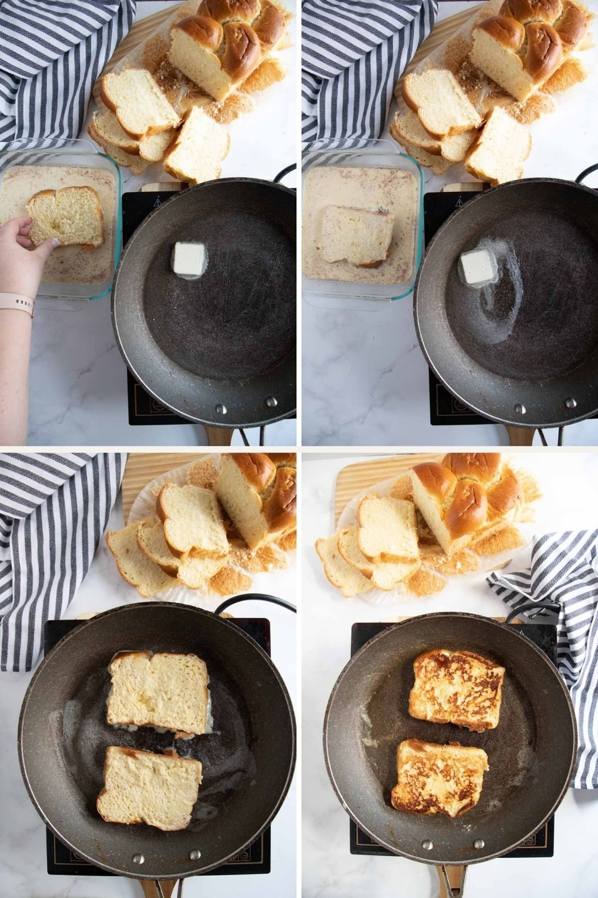 step by step photos showing how to make french toast