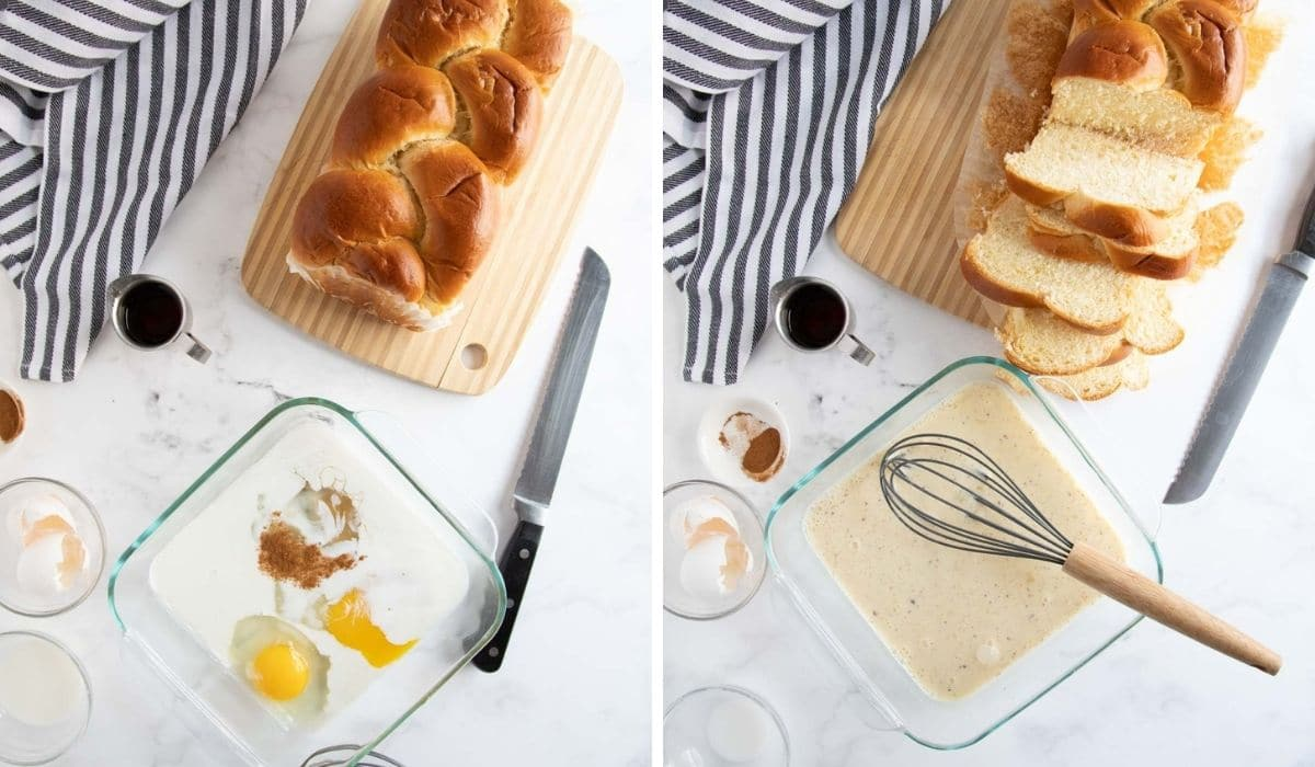 step by step photos showing how to make french toast custard