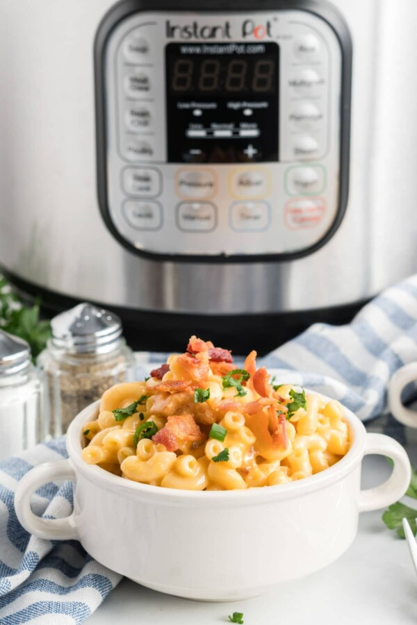Instant pot mac and cheese in a white bowl