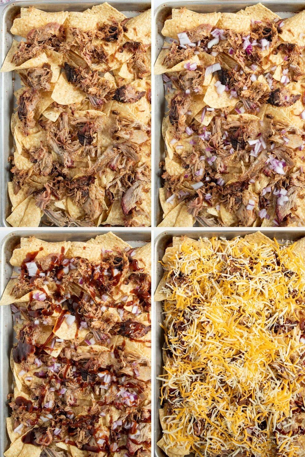 assembling pulled pork nachos