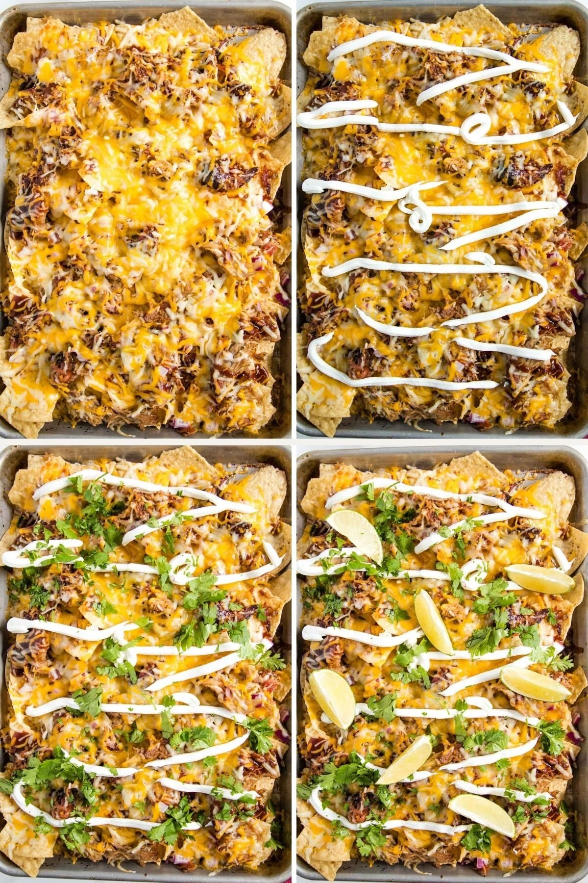 topping nachos with sour cream, cilantro and lime