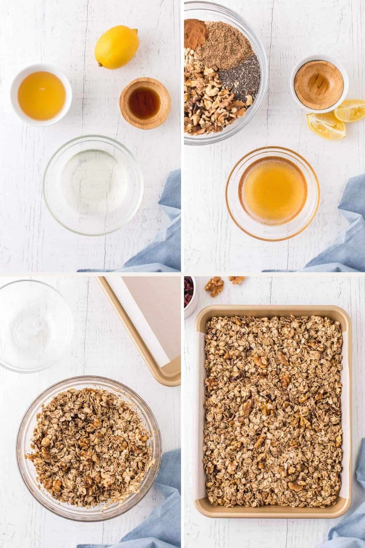 step by step photos showing prepping to make granola