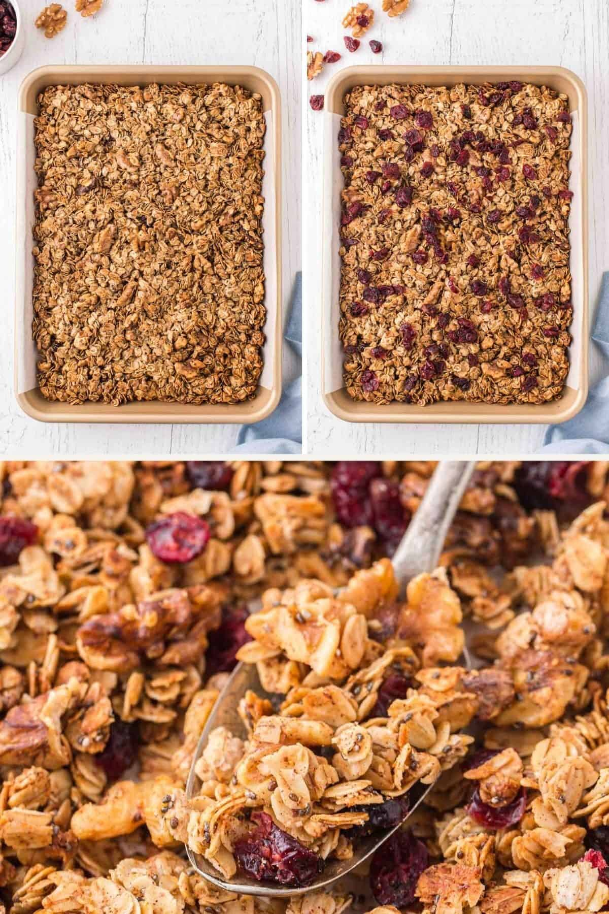 step by step photos showing granola after it is baked
