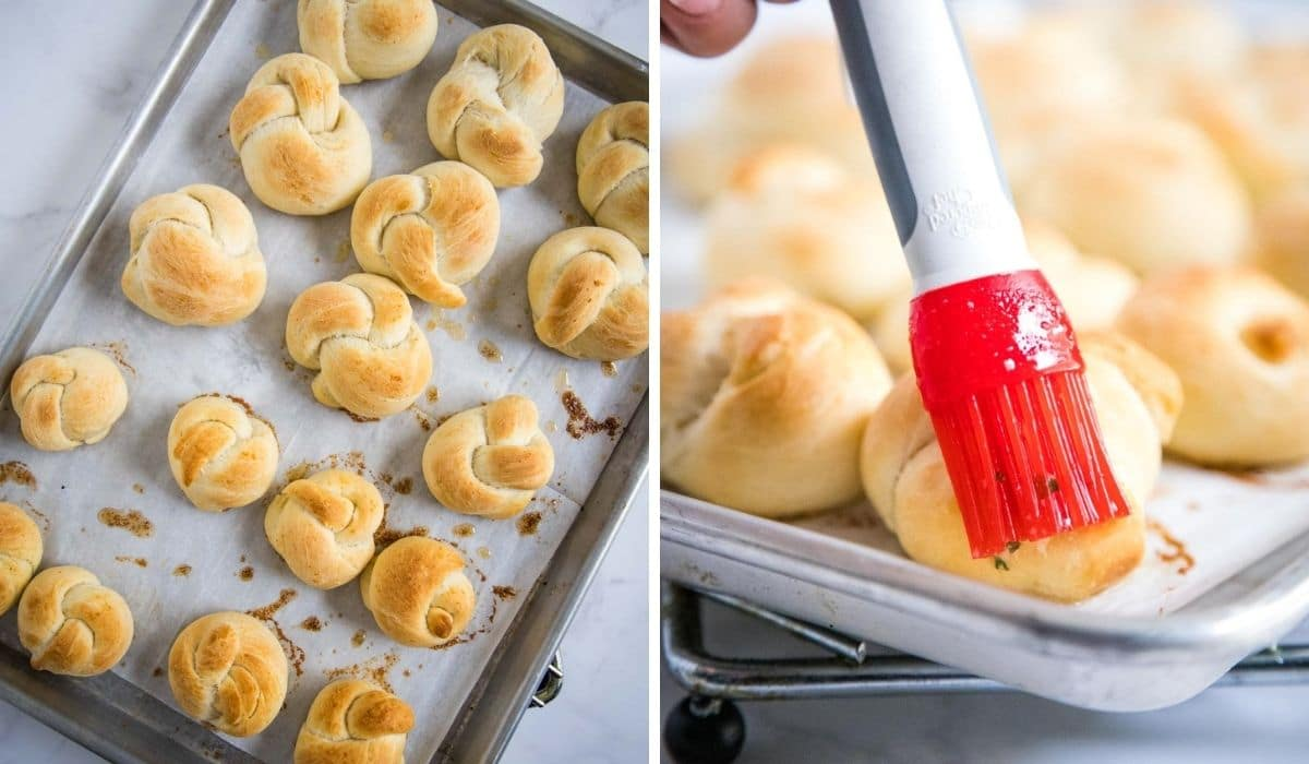 step by step - brushing garlic butter on knots