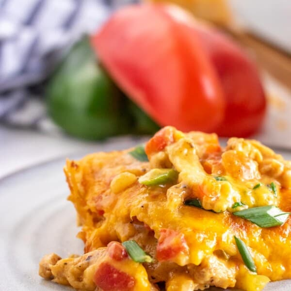 casserole on a grey plate with bell peppers in the background