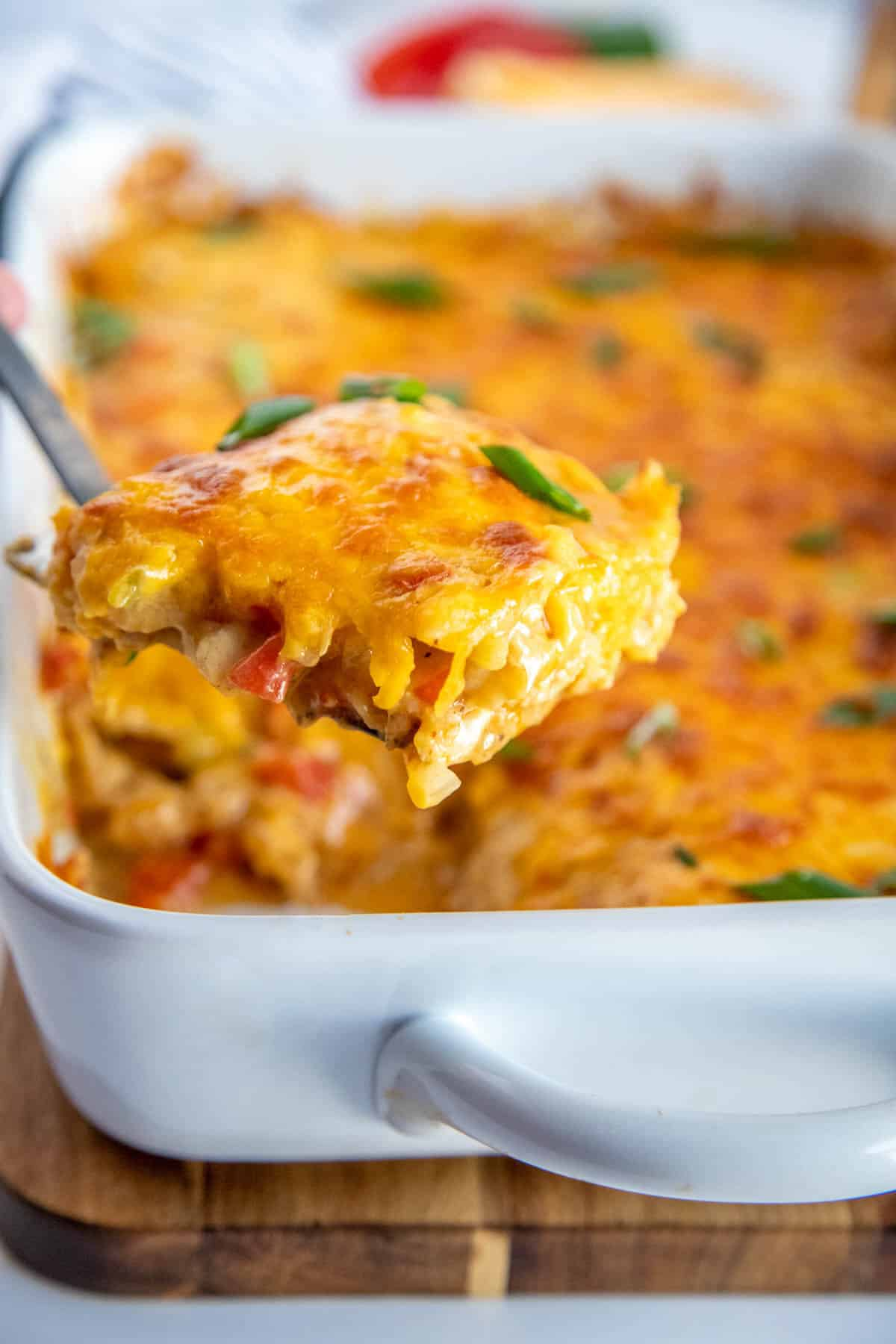 king ranch chicken casserole on a spoon
