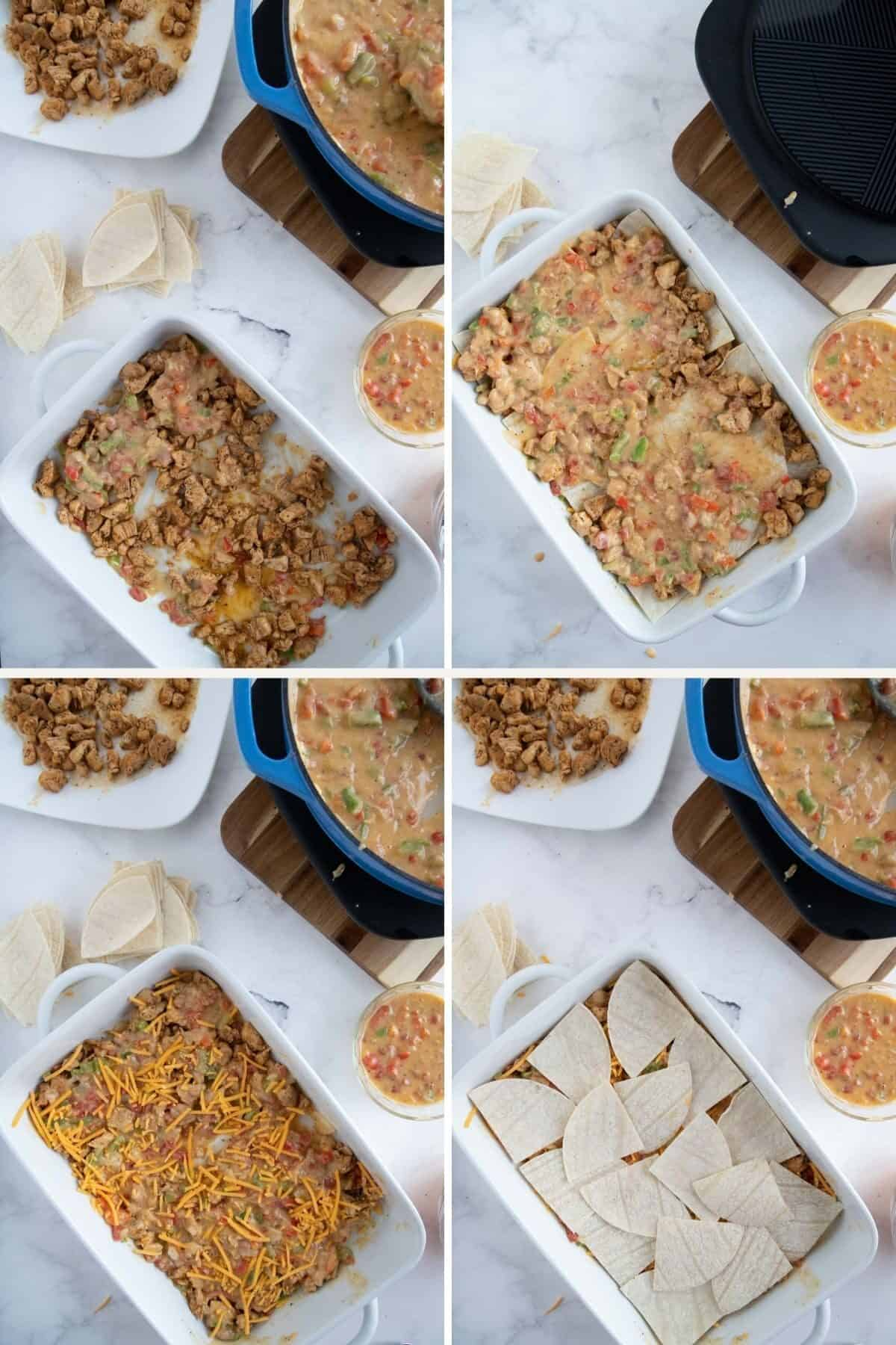 King Ranch Chicken Casserole Recipe - step by step  - assembly 2