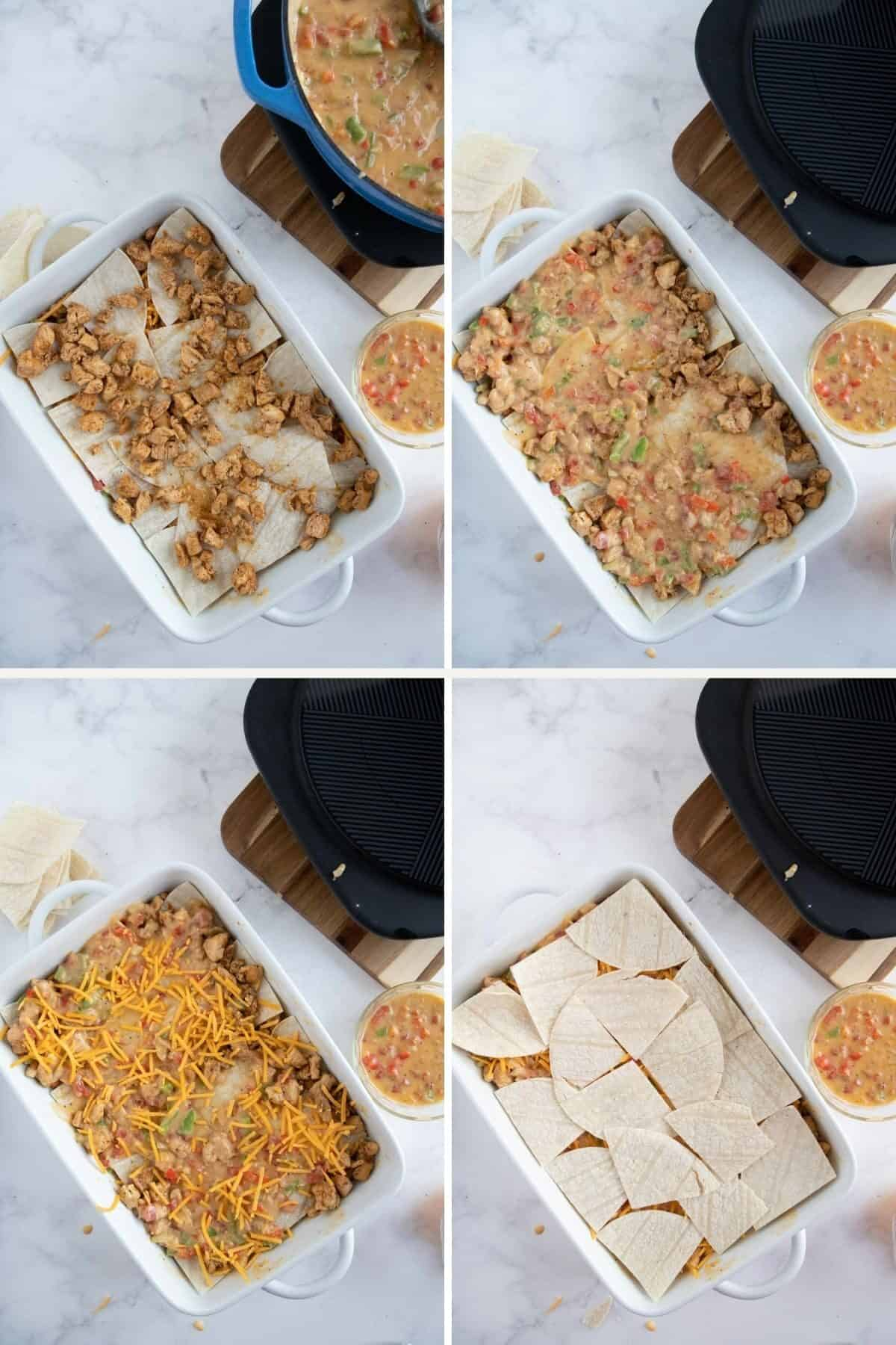King Ranch Chicken Casserole Recipe - step by step  - assembly 3