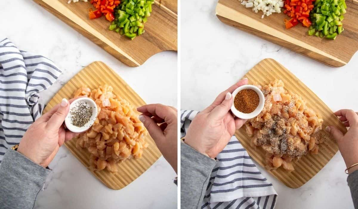 step by step of seasoning chicken