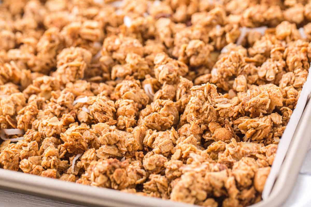 close up of peanut butter granola