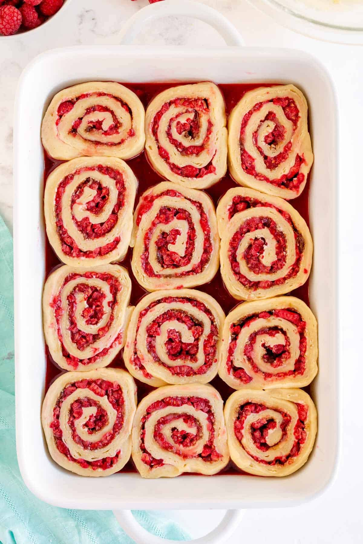 raspberry sweet rolls after second rise