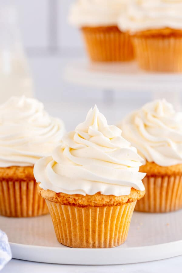vanilla cupcake with vanilla frosting