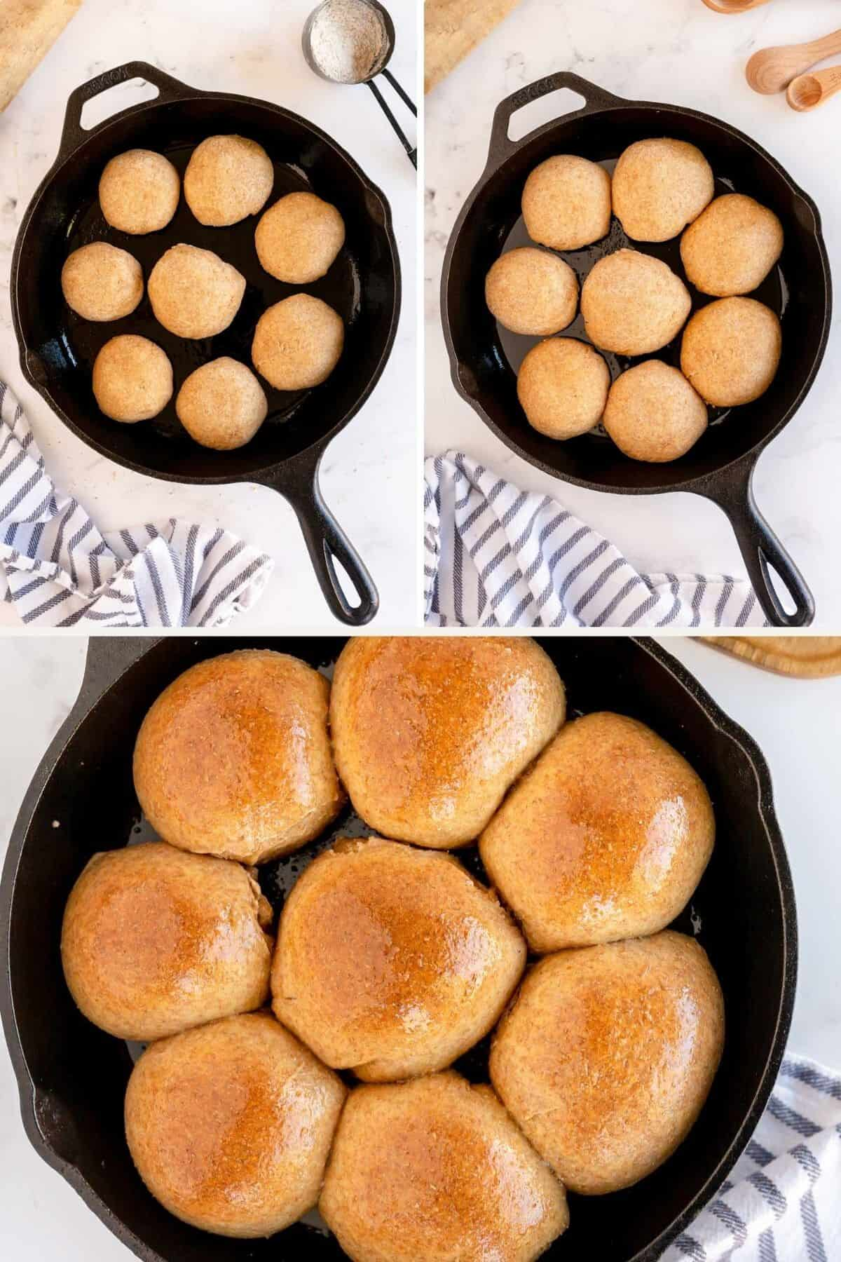 collage showing how to make whole wheat dinner rolls