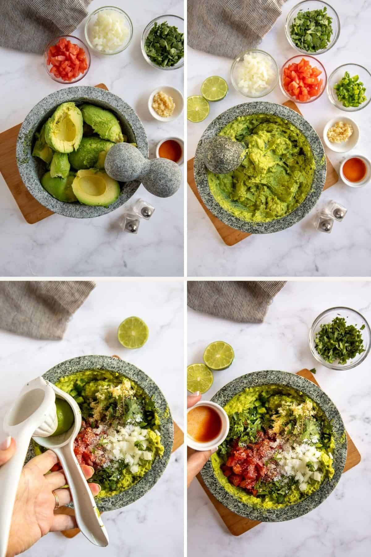 step by step photos showing how to make guacamole