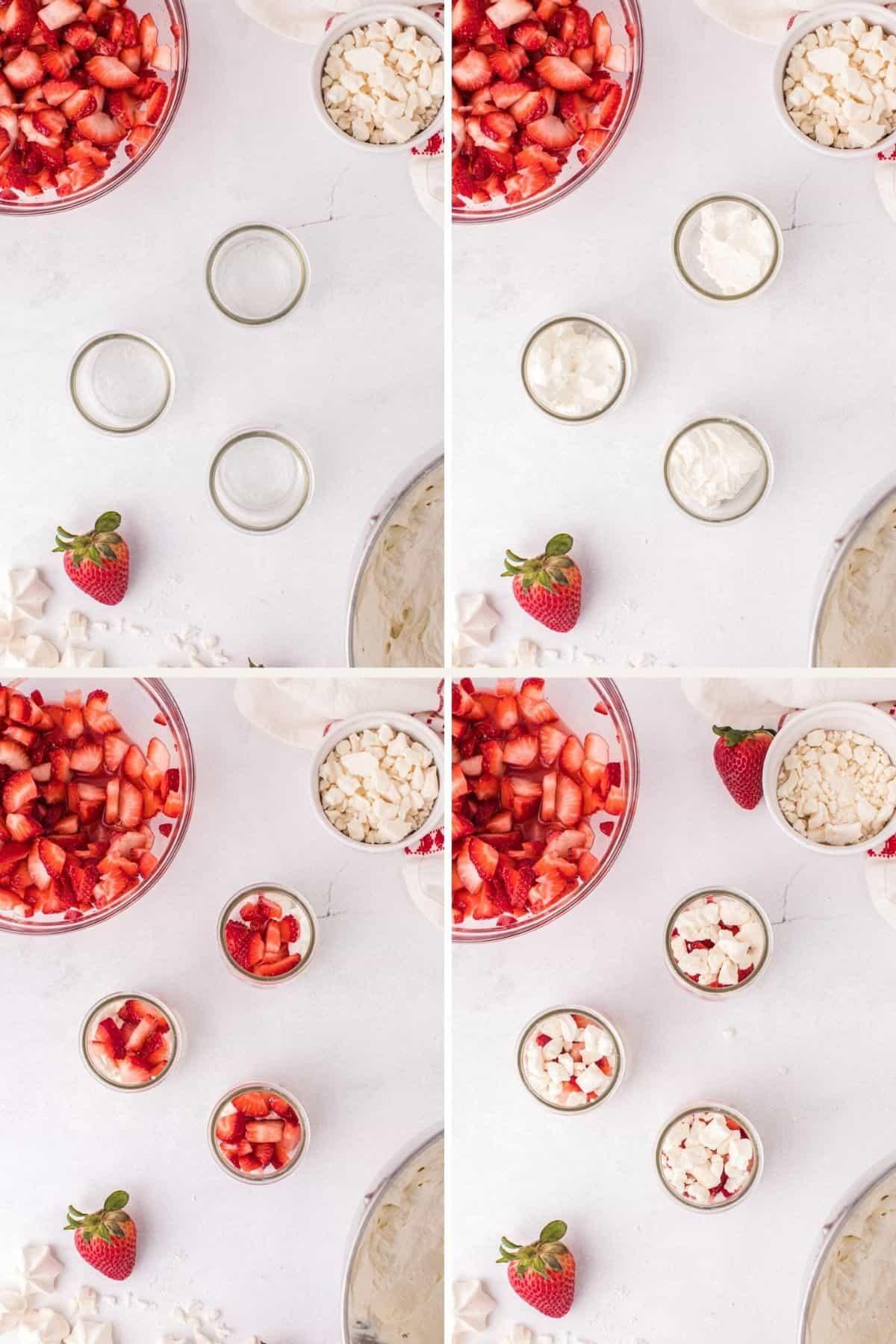 assembling strawberries and cream dessert