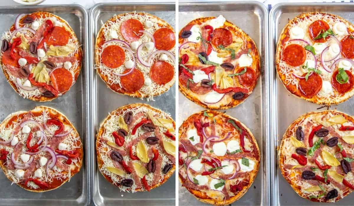collage showing uncooked and cooked pizzas side by side