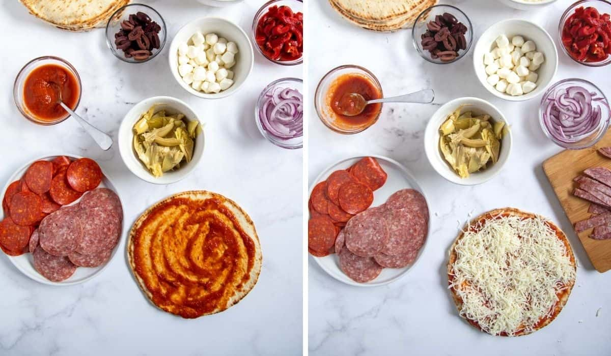 step by step photos showing how to top pizza