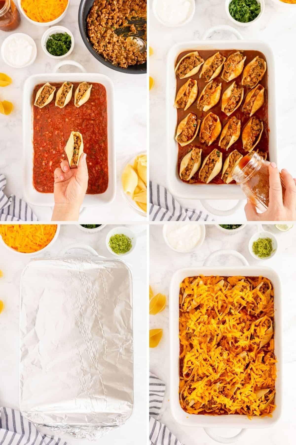 step by step showing stuffing and baking stuffed shells